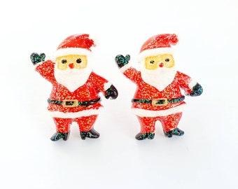 Christmas Earrings Festive Santa Seashell Father Xmas Handmade Cute UK Seller