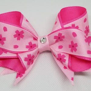3.5 Pink Flower Bow with Bling