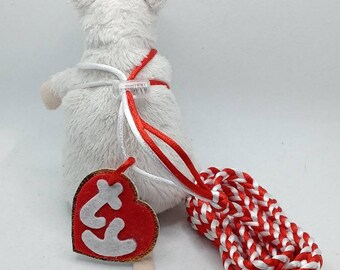 """Red and White """"Thank You"""" Rat Harness & Leash"""