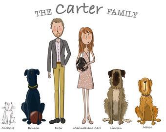 Custom family portrait illustration. Bespoke family portrait. Original gift. Personalised Christmas gift. Digital illustration.