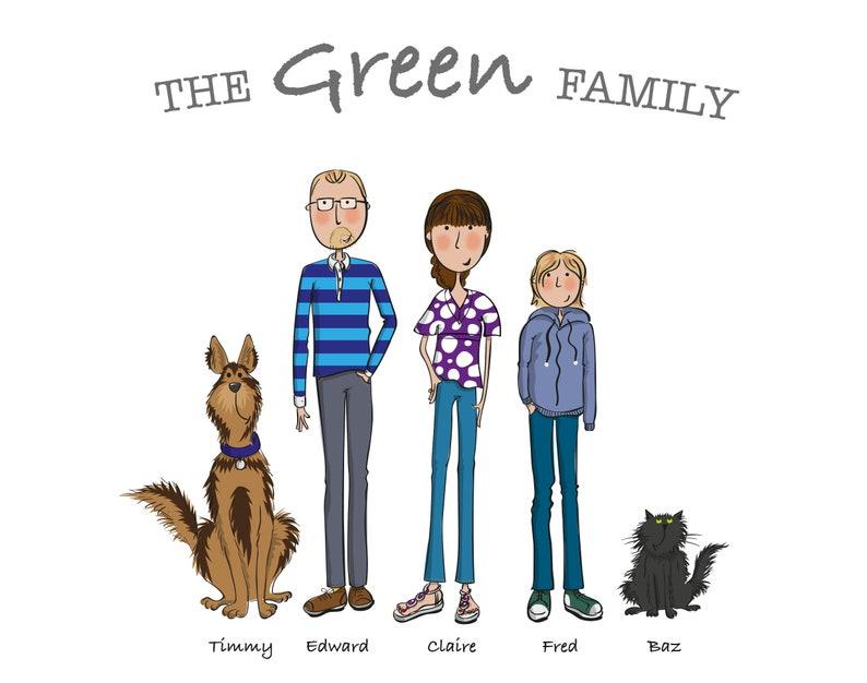 Family portrait illustration. Custom family and pet portraits. image 0