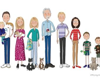 Custom family portrait illustration. Bespoke family portrait. Original gift. Personalised Christmas gift. Hand-drawn. Digital illustration.