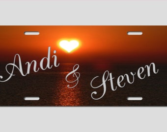Couples Love Heart Sunset Personalized Custom Car License Tag
