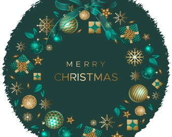 Merry Christmas Ornament Wreath Gold Teal PNG and JPEG Instant Download Design File Holiday