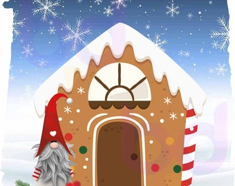 Christmas Gnome Gingerbread house PNG and JPEG Instant Download Design File Winter