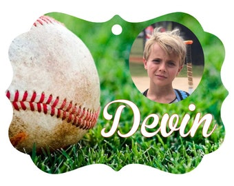Custom Aluminum Photo Christmas Ornament (one sided) Baseball, Football, Soccer Add a name and/or a picture one of a kind with gift box