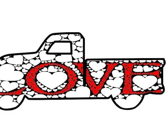Love Truck Mandala Zentangle Valentine Day Valentine's for Instant Download Design Files for Cutting Machines Cricut Silhouette