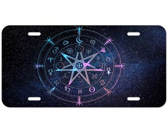 Moon Chart Stars Astronomy Wiccan Yoga Custom License Plate with or without text