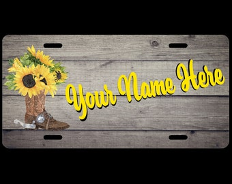 Country Girl Boot Sunflower Personalized Custom Car License Tag