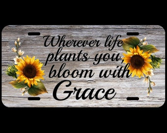 Double Sunflowers Personalized, Monogram, or Grace saying Custom Car License Tag Sunflower cluster