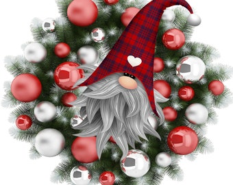 Christmas Gnome in Wreath PNG and JPEG Instant Download Design File Winter