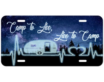Camp to Live, Live to Camp Custom License Plate