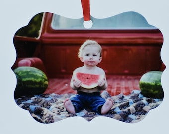 Custom Aluminum Photo Christmas Ornament (double sided) with gift box