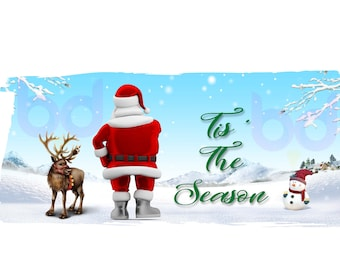 Merry Christmas Tis' the Season Santa Reindeer Snowman PNG and JPEG Instant Download Sublimation Design File Winter