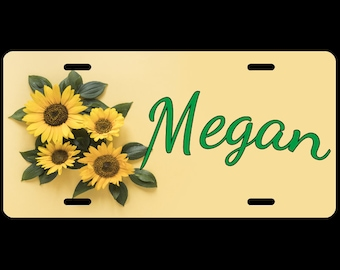 Sunflower Personalized or Monogram Custom Car License Tag Sunflower cluster