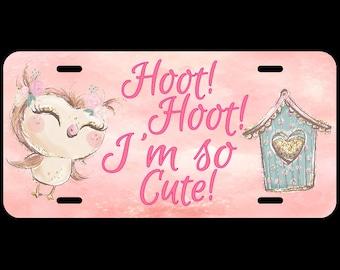 Owl Hoot Hoot or Monogram Cute Custom Car License Tag