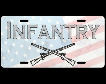 Military Car License Plate Army Infantry Faded Flag