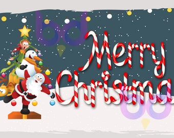 Merry Christmas Tree Santa Reindeer Elf Snowman PNG and JPEG Instant Download Sublimation Design File Winter