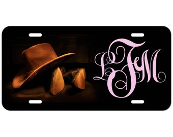 Cowboy Hat and Cowboy Boots Custom Monogram Car License Tag Pink or Brown Font