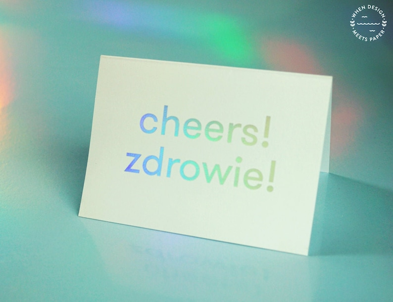 Holo postcard Cheers Zdrowie holographic gift image 0
