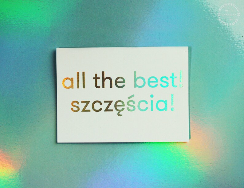 All The Best! Szcz??cia! Holo postcard - holographic gift