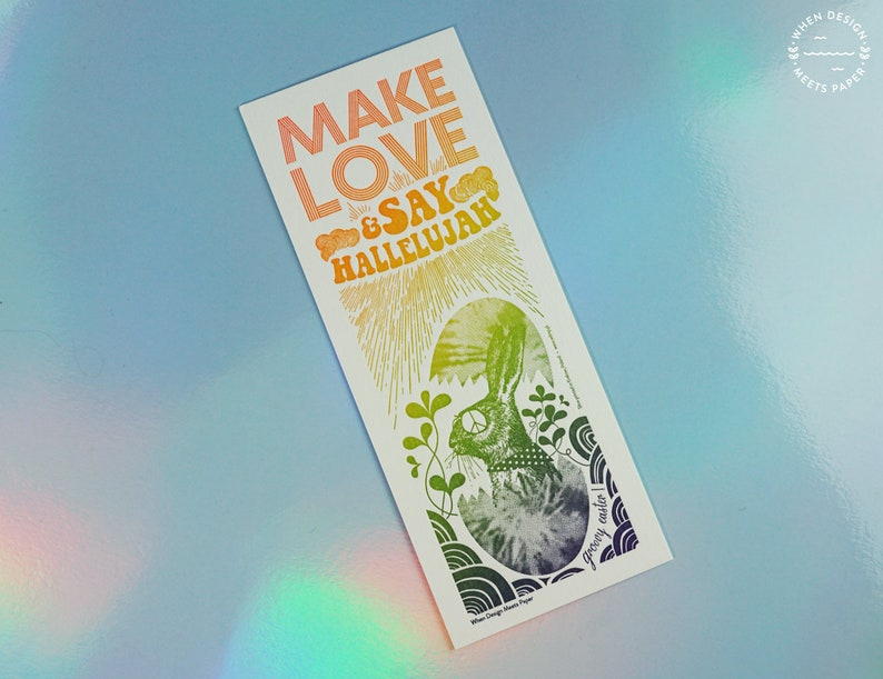 Make Love & Say Hallelujah  Letterpressed  Easter postcard image 0