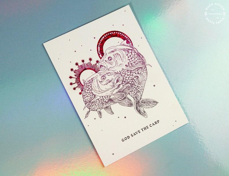 God Save The Carp  letterpressed postcard image 0