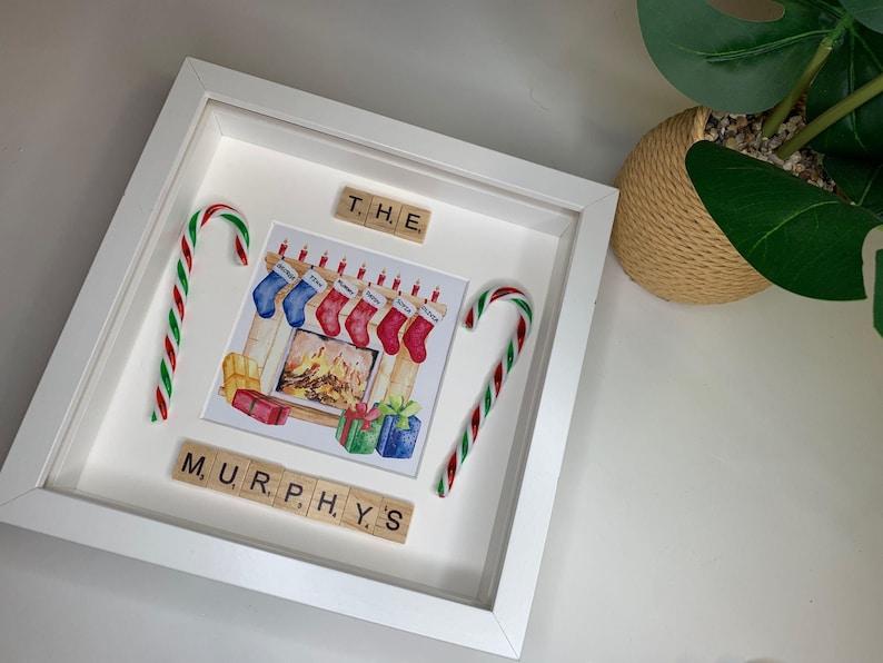 home decor family Christmas Present for family box frame keepsake christmas, gift Personalised Family Stocking Chrismtas Frame