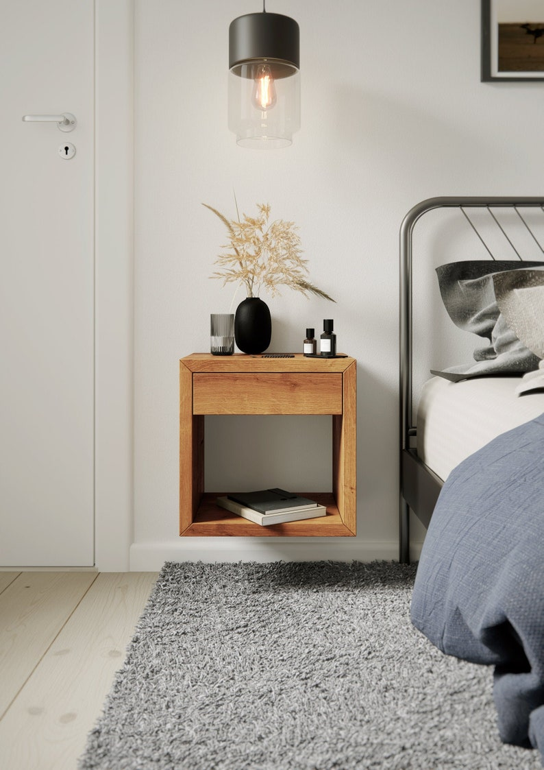 Floating Nightstand with Drawer Nightstand Organizer image 0