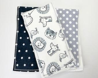 Hedgehog Flannel Security Blanket wMinky Flannel Burp Rag Flannel Burp Cloth Baby Shower Gift Baby Gift Baby Burp Rag Baby Burp Cloth Lovey