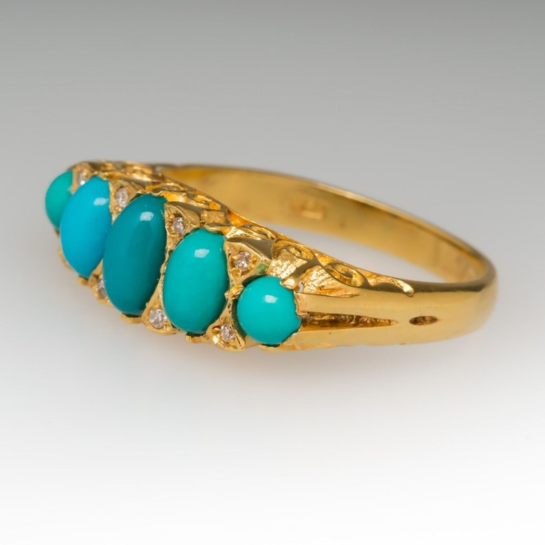 Astrological Ring .Natural Turquoise 7 Carat Ring 925 Sterling Silver Gold plated Handmade Ring For Men And Woman,Mother/'s day Gift