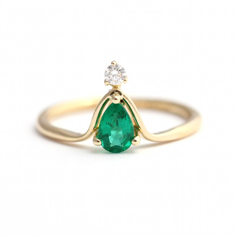 Handmade Gemstone Ring gold ring pear cut ring,.Mother/'s day Gift Natural Green Onyx Ring Cocktail Ring December Birthstone