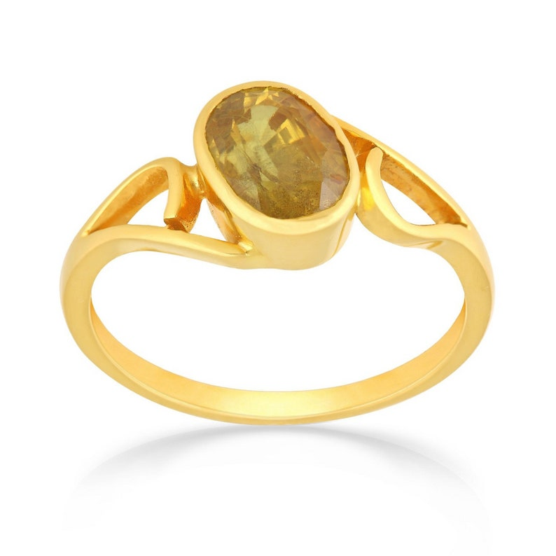 Yellow Sapphire and diamond ring 4 Carat-Sapphire and diamond solitaire-unique yellow sapphire ring For Unisex.Mother/'s day Gift