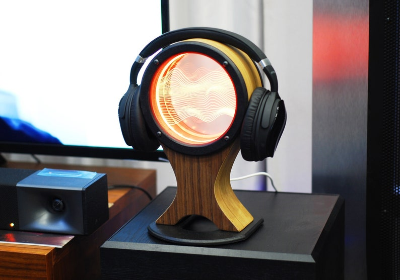 Headphone stand holder or hanger with a color LED light. image 0