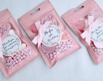 KIDS PARTY FAVOURS - (Pink)  ( 1-15 bags ) Personalised - Hen party sweet bags- Party bag fillers - girls party bags