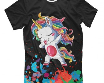 ef529bd63dc4 Dab Unicorn Funny Graphic T-Shirt, Men's Women's All Sizes