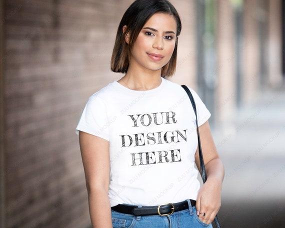 White T shirt Mockup Gildan 64000 Female Model | Woman Shirt Mock up Blank Image Digital File Instant Download Shirt Illustration Template
