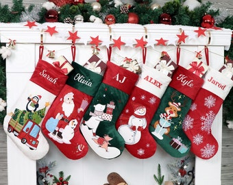 Personalized Christmas Stockings Customized Velvet Stockings Applique Stocking Embroidered Names for Home Decoration Family Christmas Gift
