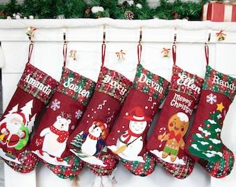 Christmas Stocking Holiday decor Christmas Personalized Christmas Stocking Burlap Christmas Stocking Red and White Christmas Stocking
