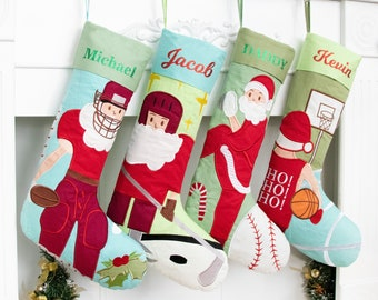 Personalized Christmas Stockings Sports Holiday Stocking Embroidered Santa Baseball Hockey Rugby Stocking Family Gift Christmas Decoration