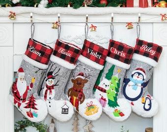 Personalized Christmas Stockings Embroidered Buffalo Plaid Stocking Applique Burlap Stockings with Santa Snowman Reindeer Polar Bear Penguin