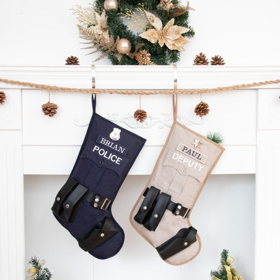 Police Officer Christmas Stocking Option to Personalize Lined Stocking