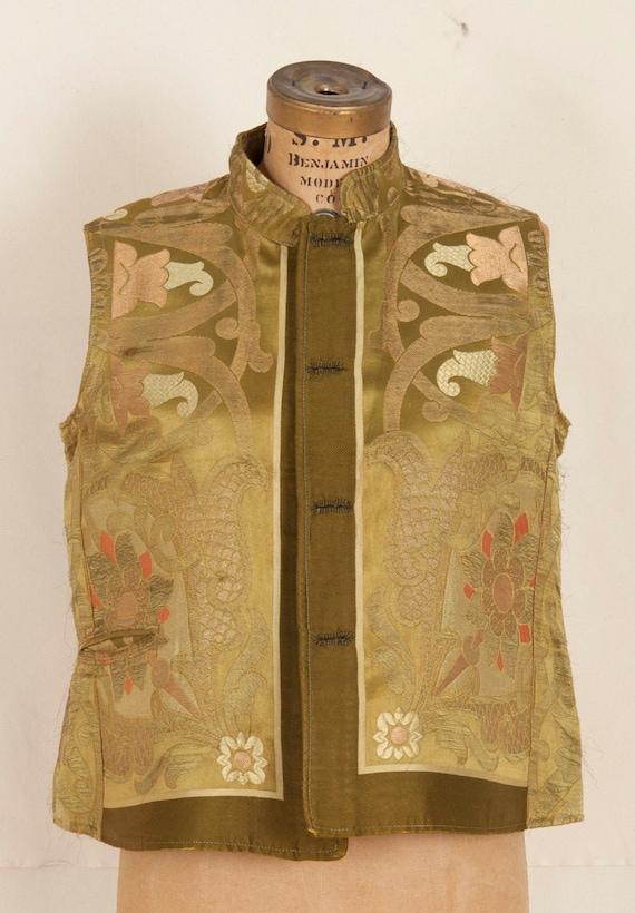 Antique Brocaded Golden Silk Vest