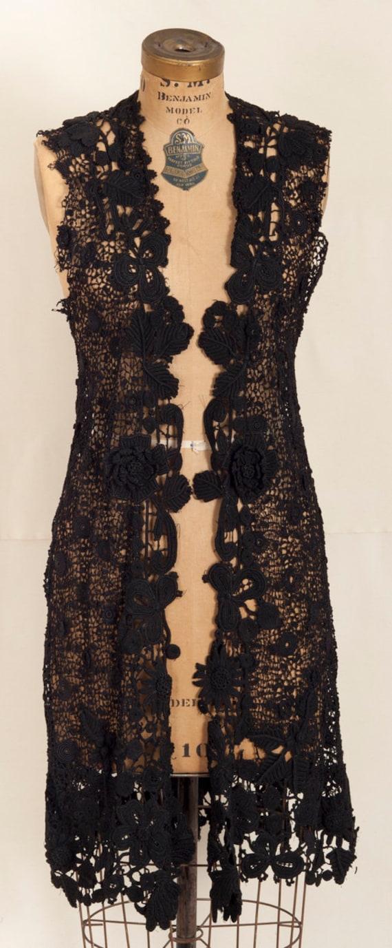 French Early 20th Century Crochet Black Vest