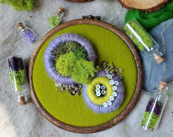 Woodland moss embroidery art, preserved moss and embroidery art, modern abstract embroidery, moss art, moss embroidery, beaded artwork