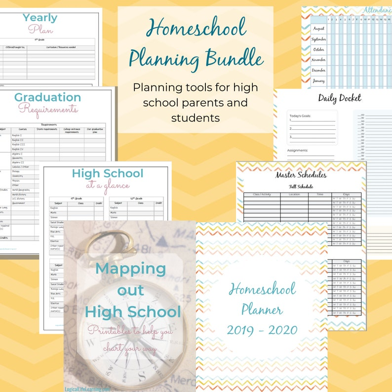 picture relating to Printable Homeschool Planner referred to as Printable Homeschool Coming up with Package deal / Homeschool Planner / Higher Faculty Mapping Applications