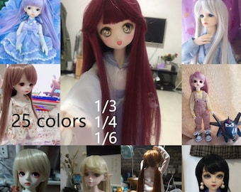 25 colors 1/3 1/4 1/6 Bjd hair High Temperature Long Straight Bjd Wig SD For BJD Doll accessories Wig pullip wig LATI wig