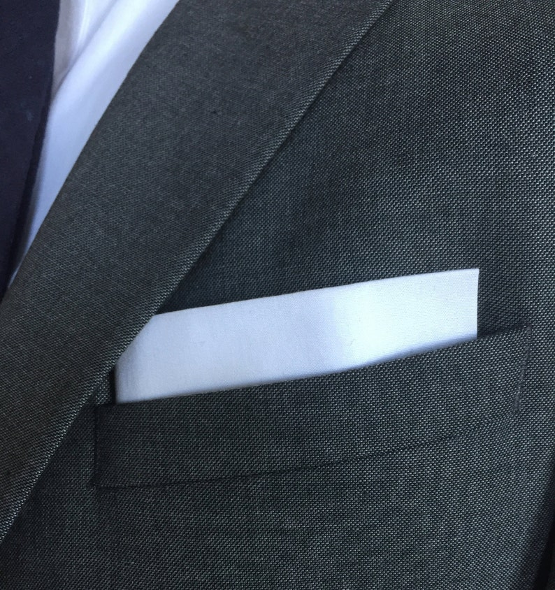 Cotton Mens Pocket Square-Solid White Cotton Pocket Square with Red Border//Edge
