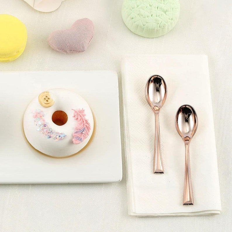 Fancy Plastic Cutlery Set of 6 Tea Party or Birthday Supply Rose Gold Mini Spoons Bridal or Baby Shower Decor Rose Gold Silverware