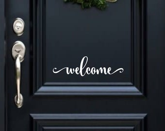 Welcome vinyl decal for front door, hallway, wall, anywhere. Free shipping!